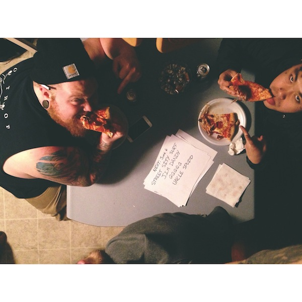 Alan and Conrad enjoying pizza in Skowhegan, Maine.